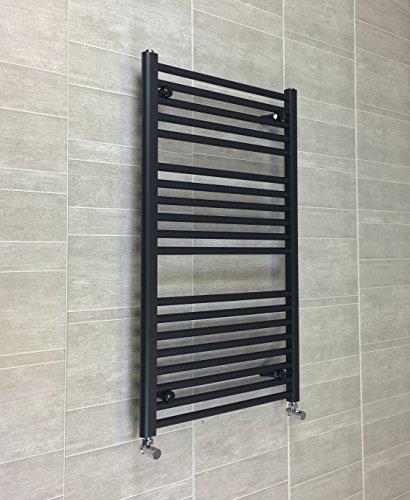 600mm larghezza nero Scaldasalviette radiatore piatto scaletta per elegante bagno, metallo, Black, 600 x 1000 mm