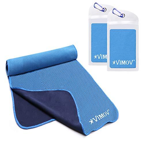 VIMOV Snap Kühlendes Handtuch 2er-Packung mit Tasche, Grau Eis Kalt Schal für Sport, Fitness, Reise, Yoga, Tennis, Wandern (Eis Angeln Handtuch)
