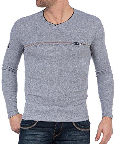 BLZ jeans - grauen T-Shirt lange Ärmel V-Ausschnitt Grau