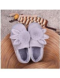 GAOHUI Slippers Señoras Otoño Invierno Caliente Antideslizante Zapatillas De Franela Coser Caricatura Bolsa Casual Heel Shoes,Ash,40-41