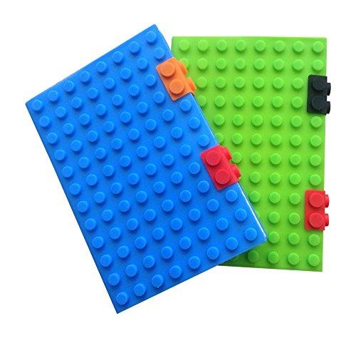 Notizbuch Tagebuch für Kinder. Tagebuch Schreibblock, Buntes Baustein-Cover aus Silikon, für Büro und Zuhause. Weicher Einband, liniert, Papier für Jungen und Mädchen A5 Twin Pack blau/grün