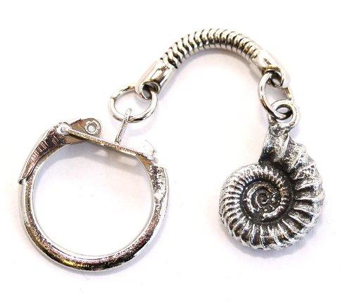 Ammonit Fossil Schlüsselanhänger (Schlüsselanhänger), Feines Englisches Zinn, handgefertigt (WA) (Fossil Schlüsselanhänger)