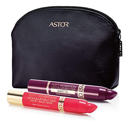 ASTOR Geschenkset Soft Sensation Lipcolor Butter, Fb. 026 (Royal Diva) & 011 (Feeling Feline)+ gratis Kosmetiktasche, 1er Pack (1 x 10 g)