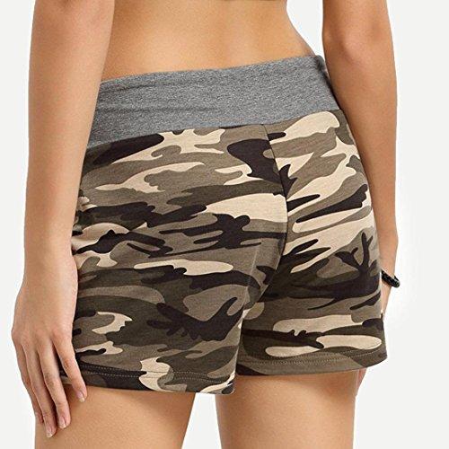 CoolsterFrauen-zufälliger sexy Trainings-Yoga-heiße kurze Hosen-Tunnelzug-kurze Hosen (gelb, XL) - 2