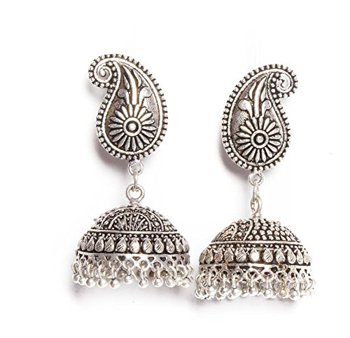 Vibgyor Vibes Oxidised Silver Plated Ethnic Push Back Dangler Jhumka Earrings (Mango Shaped) For Girls and Women