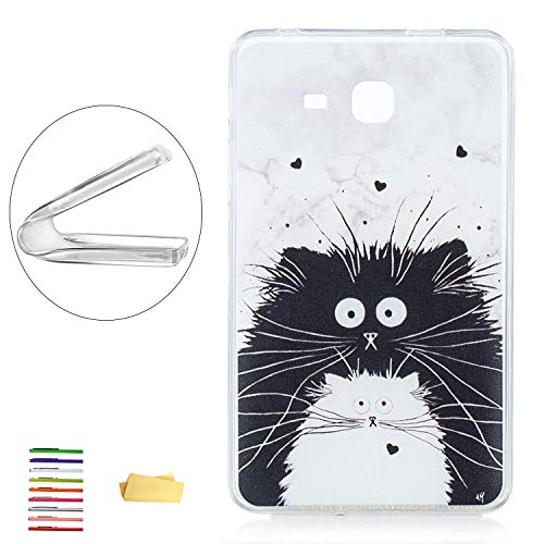 UUcovers, Schutzhülle für Samsung Galaxy Tab A 7.0 Tablet (SM-T280 / T285), dünn, leicht, flexibel, weiches TPU, kristallklar, stoßfest, mit transparentem Bumper-Muster Schwarz 01# Black White Cat