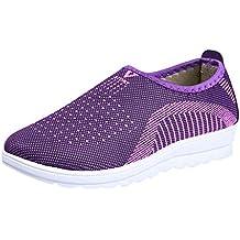 Tefamore Zapatillas de Deportivos de Running para Mujer Gimnasia Ligero Malla Algodón Sneakers Zapatos Perezosos Rojo
