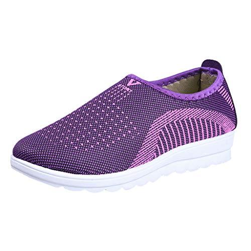 Benötigen Kostüm Idee - Yvelands Loafers weichen Schuhen Flache Damen Mesh Hose mit bequemen Walk Strip Sneakers(Lila(Damen),41)