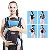 GBlife 4-en-1 Portabebés Ajustable Portadores para Infantil del Bebé Recién Nacido con Hebilla Backpack Baby Carrier(Azul)