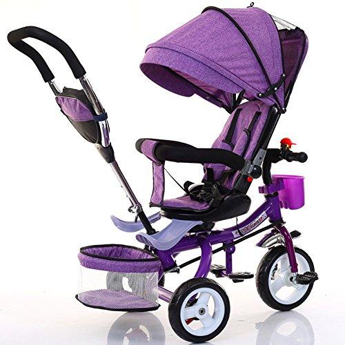Kinderfahrräder Guo Shop- Kinder Dreirad Faltbare Fahrrad Baby Fuß Kinderwagen 1-6 Jahre Alt aufblasbare Rad Farbe Auto Rahmen (Farbe : Purple) -