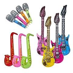 Idea Regalo - Vordas 12 Pezzi Gonfiabili Palloncini Strumenti Musicali Accessori per Feste Forniture,Una Bella Foto per Le Feste Cosplay - (Colore Casuale)