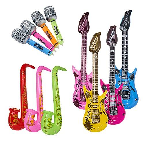 Vordas 12 Stück Aufblasbare Gitarre Musikalische Instrumente Spielzeug, Eine Schöne Stütze für Cosplay Parteien - (Zufällige Farbe)
