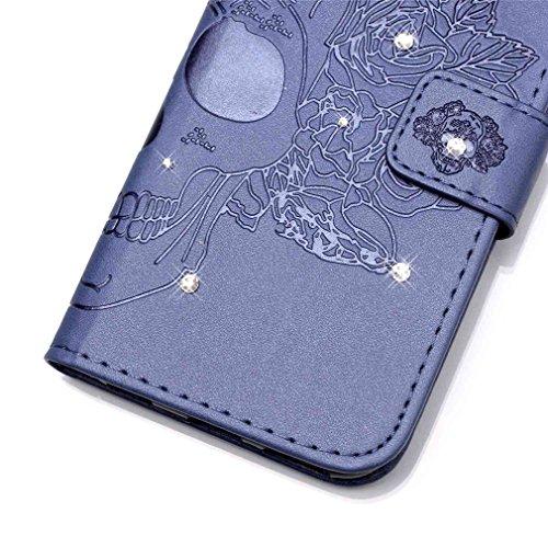 Mk Shop Limited [Coque iPhone 6S Plus] Fine Folio Wallet/Portefeuille en Bonne Qualité PU Cuir Housse pour iPhone 6S Plus Coque antichoc Gaufrage Motif avec Diamant Briller Bookstyle Flip Case Intérie Multi-couleur 27