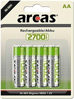 Arcas 177 27406 Níquel metal hidruro 2700mAh 1.2V - Batería/Pila recargable (Níquel metal hidruro, Universal, AA, Cd (cadmio), Hg (mercurio))