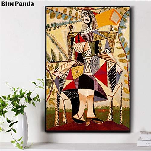 wojinbao Kein Rahmen Abstrakte Leinwand Ölgemälde Poster Wandkunst Bild von Sonnenblume und Frau im Garten 30x40cm