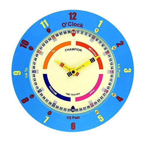 50607ad79f16cb Time Teacher, orologio da parete per bambini, per imparare a leggere l'ora,  movimento al quarzo - Blue
