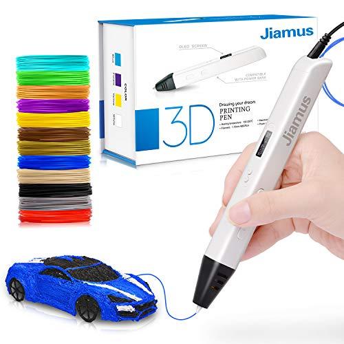 3D Druck Stift mit OLED-Bildschirm, Jiamus intelligente 3D Drucker Zeichnung Stift, kompatibel mit 1,75 mm PLA / ABS Filament,12 Fuß in 120 Farben,für Kinder und Erwachsene,Typen für Handwerk,Kunst & Modell, am besten für DIY-Geschenk.