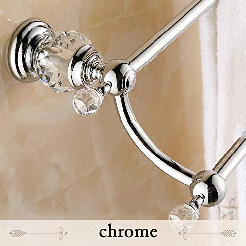 S-Senrohy Wandmontierter doppelter Handtuchhalter Vergoldeter Handtuchhalter aus massivem Messing & Kristallhandtuchhalter Chrome -