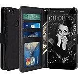 Huawei P10 Lite Funda, LK Carcasa Cubierta Cuero Billetera Case Flip Cover Con Ranuras de Tarjeta - Negro