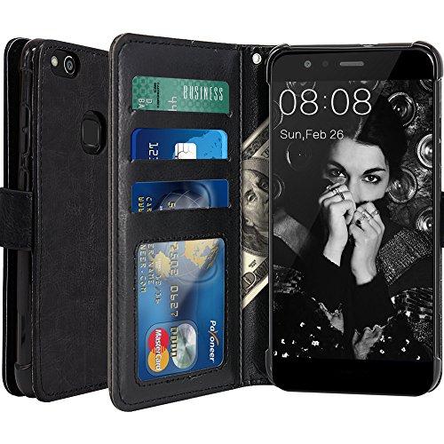 Huawei P10 Lite Hülle, LK Luxus PU Leder Brieftasche Flip Case Cover Schütz Hülle Abdeckung Ledertasche für Huawei P10 Lite (Schwarz)