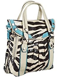 Poodlebags Funkyline - Exotic Remix - Wonderberry - zebra petrol 3FL0313WONDZ, Borsa a mano donna donna 35x32x12 cm (L x A x P), Multicolore (Mehrfarbig (zebra/petrol)), 35x32x12 cm (L x A x P)