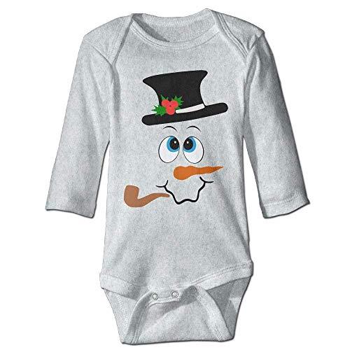 Unisex Infant Bodysuits Festive Snowman Face Boys Babysuit Long Sleeve Jumpsuit Sunsuit Outfit Ash