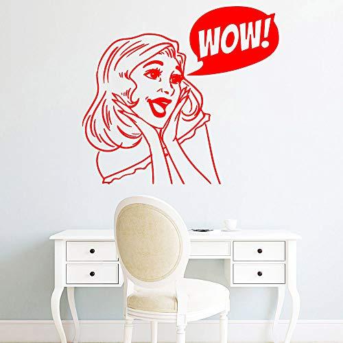 zhuziji Squisito Wow Donna Adesivi murali Arredamento per la casa Adesivo Decorativo da Parete per cameretta Decorazione PVC da Parete 88A-3 M 30 cm X 33 cm