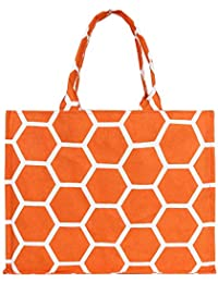 Women's Canvas Tote Shoulder Bag Stylish Shopping Bag Foldaway Travel Bag (Orange)