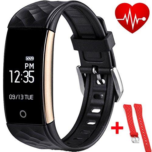 Smart Armband, Fitness Tracker mit austauschbarem Tragegurt, Health Tracker, Armband mit Aktivitätsschrittzähler, Schlaf-Tracker, Smartwatch für iPhone und Android (für iPhone 7/7 Plus/6S/6/6 Plus/5/5S/SE, Huawei Mate 7/P9, LG, Sony usw.) (Schwarze und Rot band)