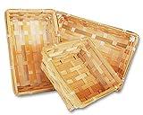 Lashuma 3er Set Eckige Bambuskörbchen, Füllkorb in 3 Größen: Quadratisch und rechteckig, Flacher Spankorb Natur