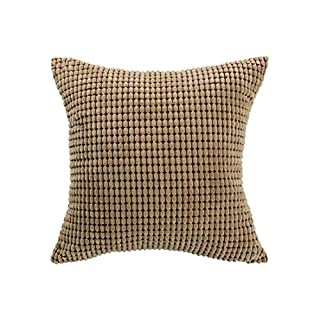 sourcingmap Throw Pillow Cover,Velvet Cushion Cover Comfortable Soft Corduroy Corn Striped Pillow Case for Couch Sofa Bed Car(26 x 26 Inch,Camel)