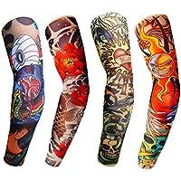 4 Pcs Fashion Nylon Fake Temporary Tattoo Sleeves Arm Stockings Halloween Tattoo Soft For Men Women Outdoor Sport Basketball Cycling Anti-UV Sunscreen Sleeves