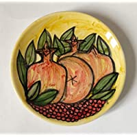 Pomegranates plate-Ceramic dish and decorated by hand, diameter inch 5.7 high inch 0,8-MADE in ITALY Tuscany Lucca, certified.Created by Davide Pacini