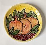 Melograni-Piatto di ceramica decorato a mano diametro Cm 14,5 e alto cm 2,2.MADE in ITALY Toscana Lucca, certificato.Creato da Davide Pacini.