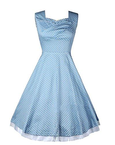 Moollyfox 1950 Style Élégant Vintage Femmes Impression Robe Lumière Bleu Dot