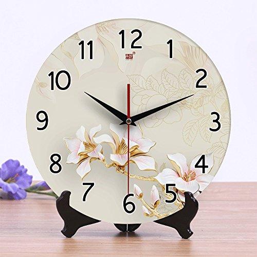 Pinjeer 12 Zoll Retro 3D Keramik Runde Uhr Schöne Rahmenlose Stille Wand Uhren Kreative Wohnzimmer Büro Wanduhr (Color : 2, Größe : 12 inches)