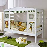 Pharao24 Jungen Kinderbett in Weiß Kiefer Massiv Dschungel Design