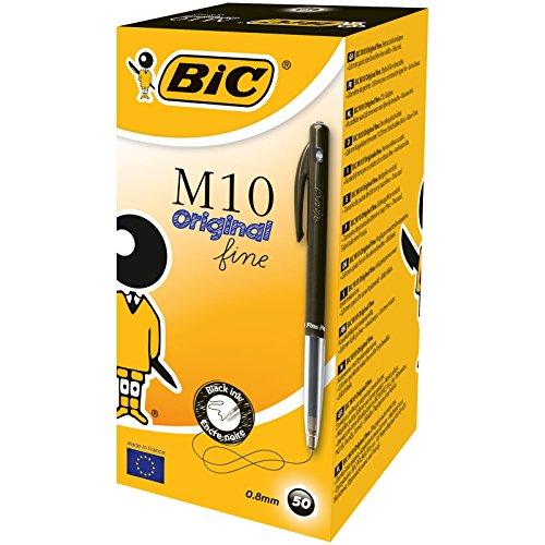 Bic 1199190129 - Bolígrafo de bola retráctil negro (50 unidades), multicolor