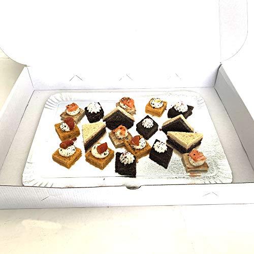 Un paquete de 25 cajas blancas para bandeja de catering. Cajas de cartón blancas para transportar tus bandejas de catering rellenas de pequeños hornos, pastelería, lindo, etc. Cajas blancas con cierre hermético ideales para transportar alimentos de f...