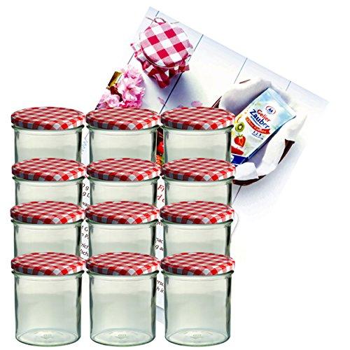 MamboCat 12er Set Sturzglas 350 ml Marmeladenglas Einmachglas Einweckglas to 82 rot Karierter Deckel incl. Diamant-Zucker Gelierzauber Rezeptheft