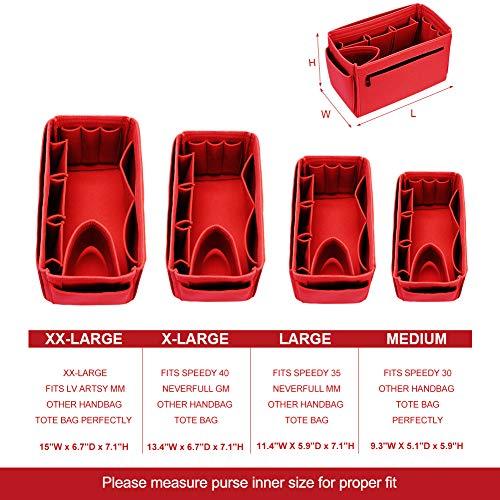 Felt Insert Handbag Organiser, XX-Large, Red