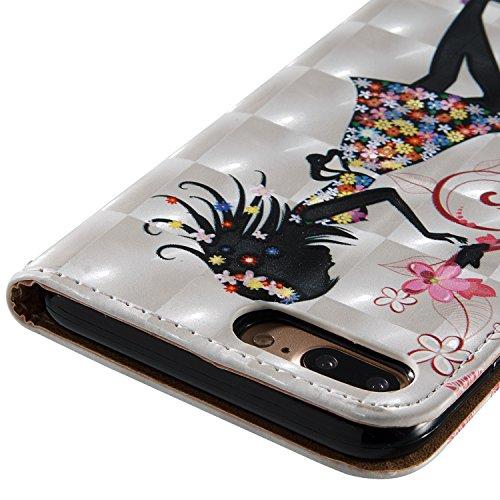 iPhone 7 plus Lederhülle Schutztasche, Aeeque® [Schön Engels Mädchen Motiv] 3D Modisch Design Ständer Unsichtbar Magnet und Weich Silikon Innere Bumper Praktische Handschlaufe Wallet Case Cover Hüllen Bild Engels Mädchen