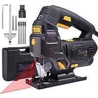 Scie Sauteuse, TECCPO Professional 800W Scie Sauteuse Électrique, avec Guide Laser, Hauteur de Course 22mm, 3000SPM, Angle Max 45°, 6 Vitesses - TAJS01P