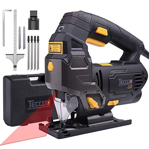 Scie Sauteuse, TECCPO Professional 800W Scie Sauteuse Électrique, avec Guide Laser, Hauteur...