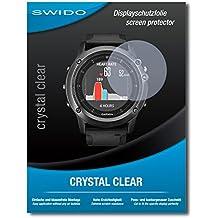"2 x SWIDO® Protector de pantalla Garmin fenix 3 Saphir HR Protectores de pantalla de película ""CrystalClear"" invisible"