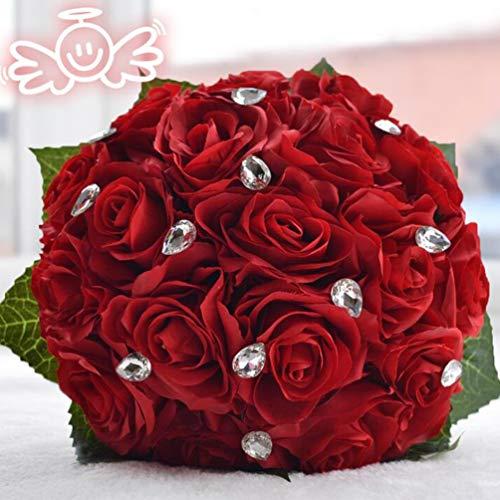 FLOWERSMY Hochzeits-Braut-Blumenstrauß, der Blumen hält Schaum-Rosen, die Blumen Mit Braut Halten, Red