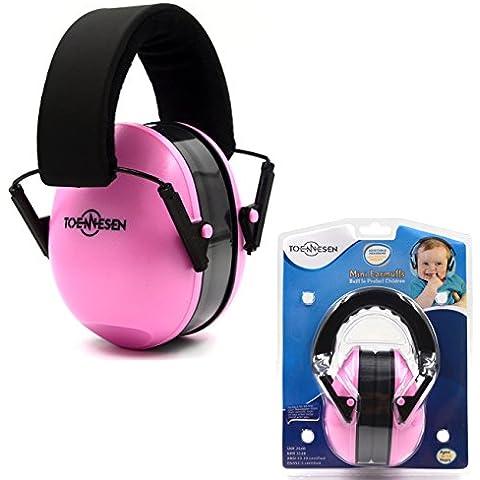 Kid Muffs protezione dell'udito dell'orecchio per 6 mesi a 12 anni - Riduzione del rumore confortevole e cuffie di protezione per il vostro bambino neonato e il bambino - Rose Red