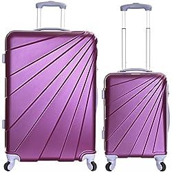 Slimbridge Valise Rigide à roulettes pivotantes de qualité supérieure avec Serrure intégrée - Ensemble Lot de 2 valises rigides pièces, Fusion Prune