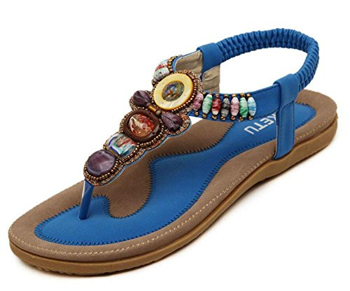 DONNA Sandali Beach Flip Flops piatta elastico T-Strap Post Sandali Pattini Rhinestone Estate Blue