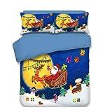 CSYPYLE Bettwäsche-Sets Cartoon Weihnachtsmann Schneemann Muster Bequeme Weiche Bettlaken Kissenbezug Schlafzimmer Bettwäsche-Kit, Doppel